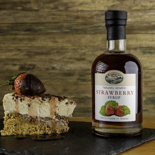 Brooksgrove Farm Strawberry Syrup on cheesecake